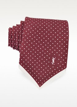 Saint Laurent - Polkadot Print Silk Narrow Tie