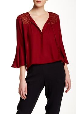 Ella Moss - Bell Sleeve Silk Contrast Blouse