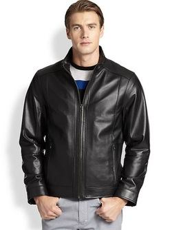 Saks Fifth Avenue Collection  - Lightweight Leather Bomber Jacket