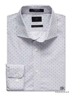 Banana-Republic - Br Monogram Italian Woven Dot Shirt