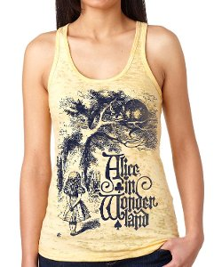 Tuffy McPuggles - Alice in Wonderland Burnout Racerback Tank Top