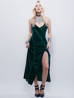 Free People - Spliced Velvet Maxi Dress