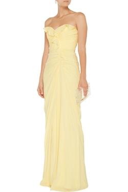 Badgley Mischka - Ruffle-Trimmed Silk-Blend Gown