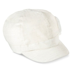 Mossimo - Canvas Newsboy Hat with Distressed Flower - Ivory