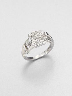 John Hardy  - Classic Chain Diamond & Sterling Silver Rectangular Ring