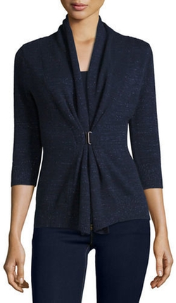 Neiman Marcus Cashmere Collection  - Half-Sleeve Toggle Cardigan