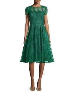 Aidan Mattox - Feather-Lace Open-Back Party Dress