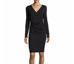 Nicole Miller - Faux-Wrap Ruched Dress