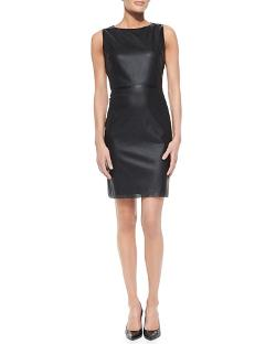 T Tahari   - Neala Sleeveless Perforated Faux-Leather Dress