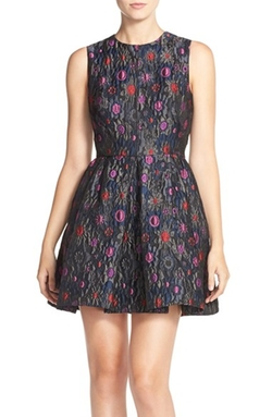 Cynthia Rowley - Floral Jacquard Fit & Flare Dress