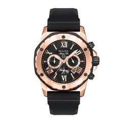 Bulova - Chronograph Black Rubber Strap Watch