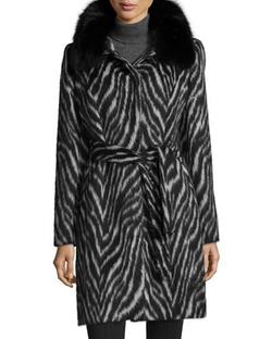 Sofia Cashmere - Fur-Collar Zebra-Print Belted Coat