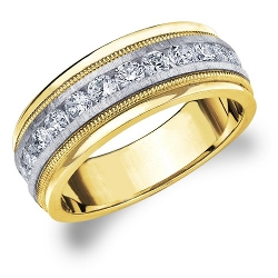 Eternity Wedding Bands Llc - 18k Two Tone Gold Diamond Men