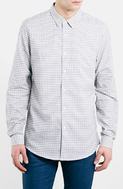 Topman - Slim Fit Textured Check Shirt