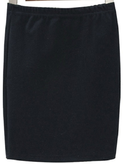 Romwe - Elastic Waist Bodycon Black Skirt