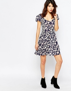 Brave Soul - Short Sleeve Floral Tea Dress