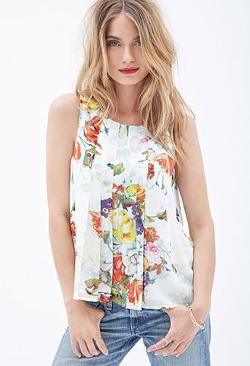Forever21 - Watercolor Floral Print Tank