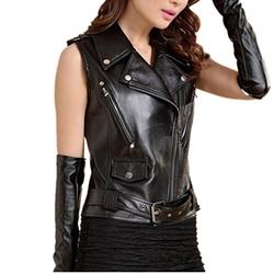Friendshop  - Slim Sleeveless Motorcycle PU Leather Jacket