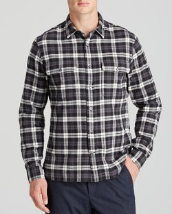 Vince - Plaid Military Button Down Shirt