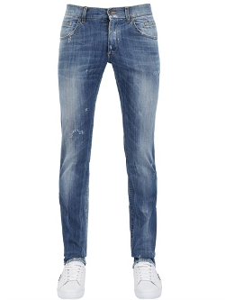 Dolce & Gabbana - Gold Washed Denim Slim Fit Jeans