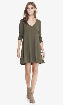 Express - V-Neck Long Sleeve Trapeze Dress