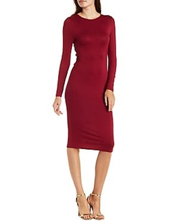 Charlotte Russe - Long Sleeve Tulip-Back Midi Dress