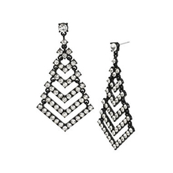 Mixit - Crystal Openwork Chevron Drop Earrings