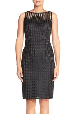 Adrianna Papell - Grid Lace Sheath Dress