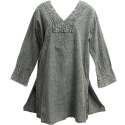 Yoga Trendz - Embroidered Lace V-Neck Tunic Blouse