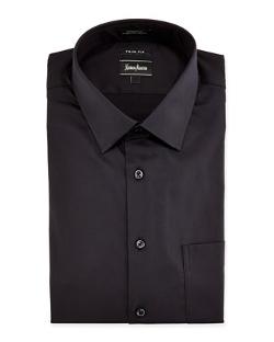 Neiman Marcus  - Trim Fit Stretch Woven Dress Shirt