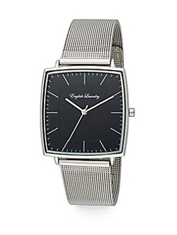 English Laundry  - Stainless Steel Interchangeable Leather Strap Watch