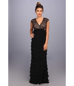 Adrianna Papell - Lace Bodice Shutter Bottom Gown