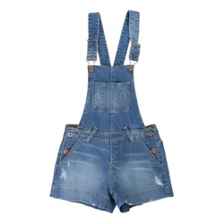 Une Fille Today I Am - Overall Denim Shorts
