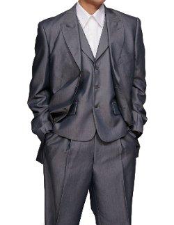 New Era Factory Outlet - 3 Piece Slim Fit Sharkskin Dress Suit