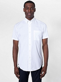 American Apparel - Poplin Short Sleeve Button-Down With Pocket Shirt