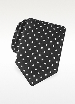 Forzieri - Polka Dot Print Silk Tie