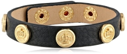Juicy Couture - Coin Studded Black Leather Bracelet
