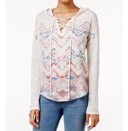 American Rag  - Printed Lace-Up Hoodie