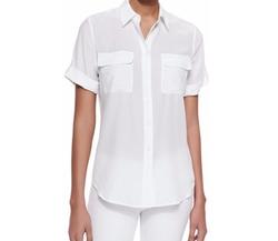 Equipment - Short-Sleeve Slim Signature Silk Blouse