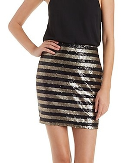 Charlotte Russe - Sequin Stripe Bodycon Skirt