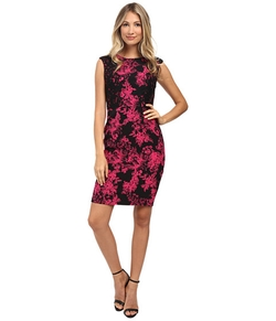 Adrianna Papell - Lace on Lace Printed Crepe Dress