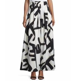 Nic+zoe - Graphic-Print Pleated Maxi Skirt
