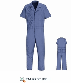 American Work Apparel - Blue Short Sleeve Poplin Jumpsuit