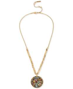 Kenneth Cole New York  - Gold-Tone Stone Disc Pendant Necklace