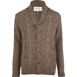 River Island - Light Brown Cable Knit Cardigan