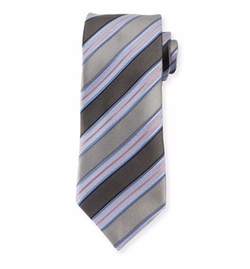 Ermenegildo Zegna  - Textured Striped Silk Tie