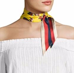Gucci - Bow & Web Skinny Silk Scarf