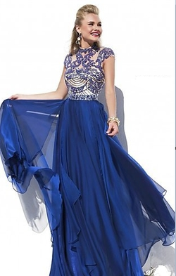 Sherri Hill - Cap Sleeve Long Beaded Prom Dress