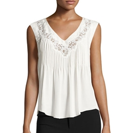 Rebecca Taylor  - Lace-Inset Sleeveless Silk Top