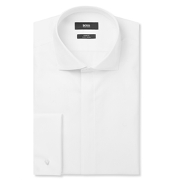 Hugo Boss - White Jonathan Slim-Fit Double-Cuff Cotton-Poplin Dinner Shirt
